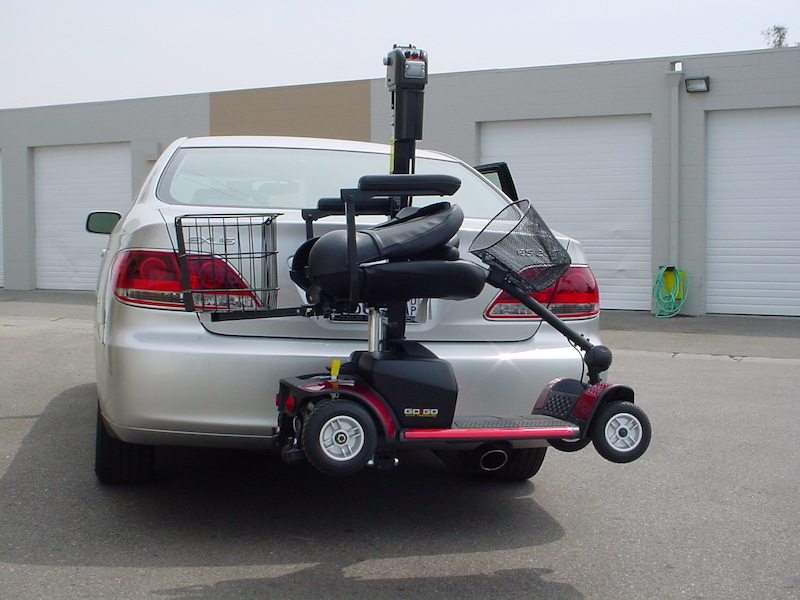 Easy to transport mobility scooter on back of a car