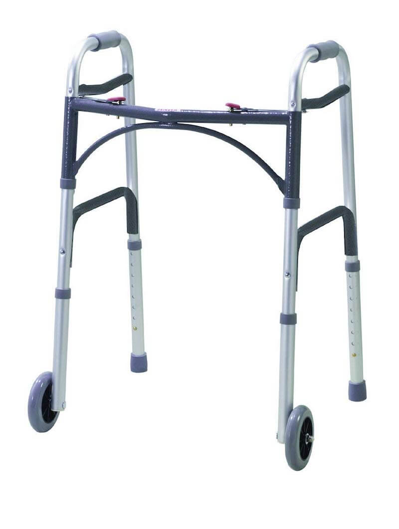 Walking zimmer frame with wheels and brakes