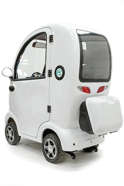 Cabin mobility scooter rear with luggage or shopping compartment