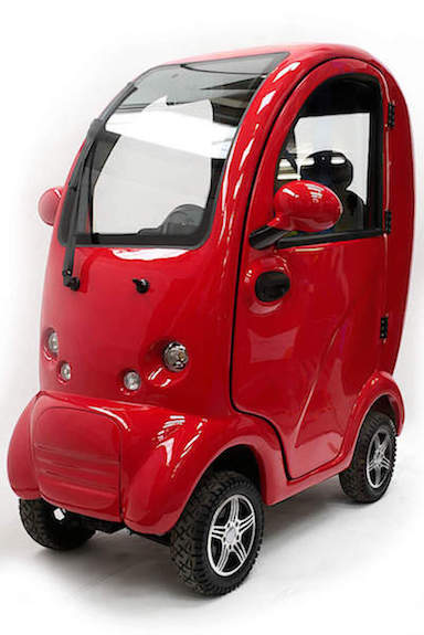 Cabin mobility scooter car in red