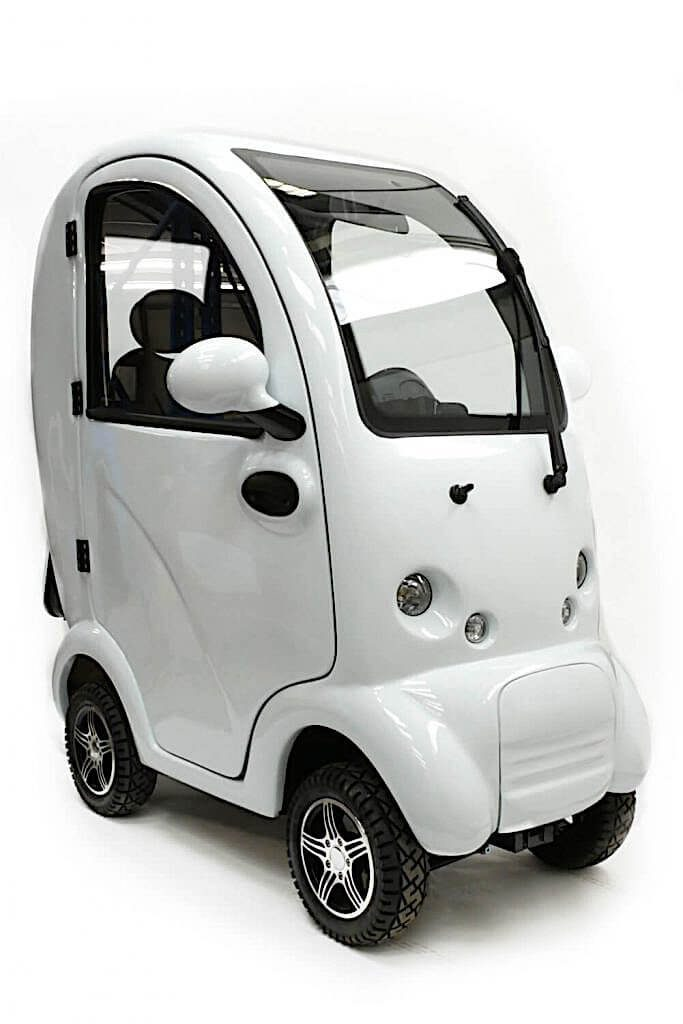 Cabin mobility scooter car in white